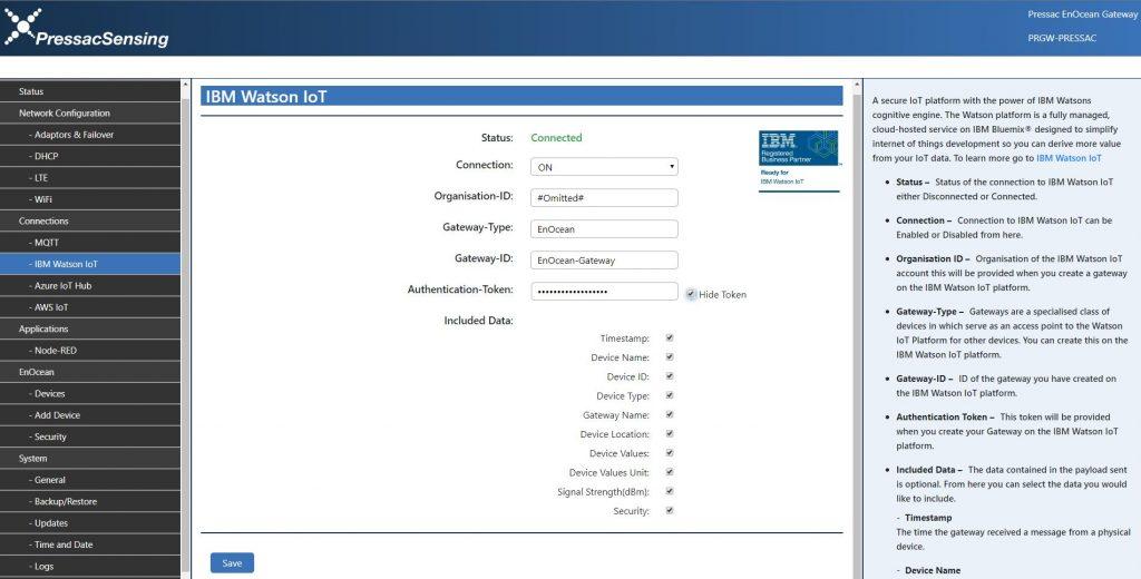 pressac-enocean-gateway-ibm-credentials